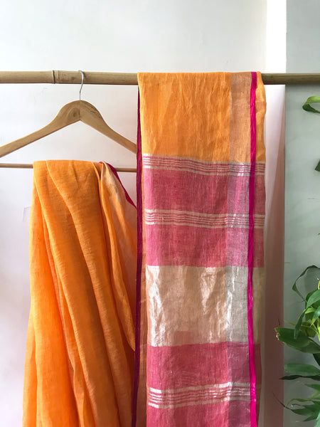 Handwoven linen Mango Color Saree