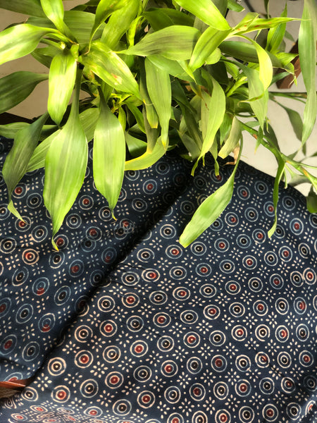 Ajrakh Block Printed Natural Dyed Rayon Fabric