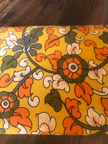 Yellow Hand Block Printed Cotton Kalamkari Fabric