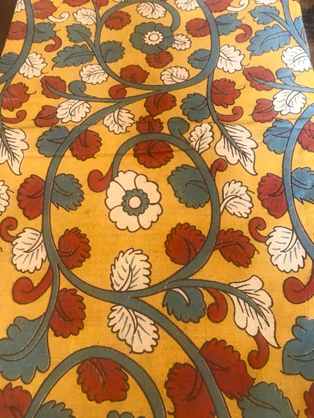 Mustard Hand Block Printed Cotton Kalamkari Fabric