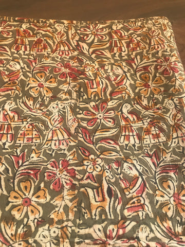 Olive Green Hand Block Printed Cotton Kalamkari Fabric