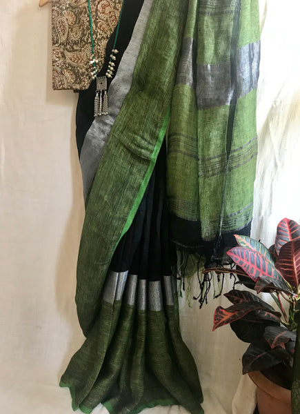 Handwoven linen black saree
