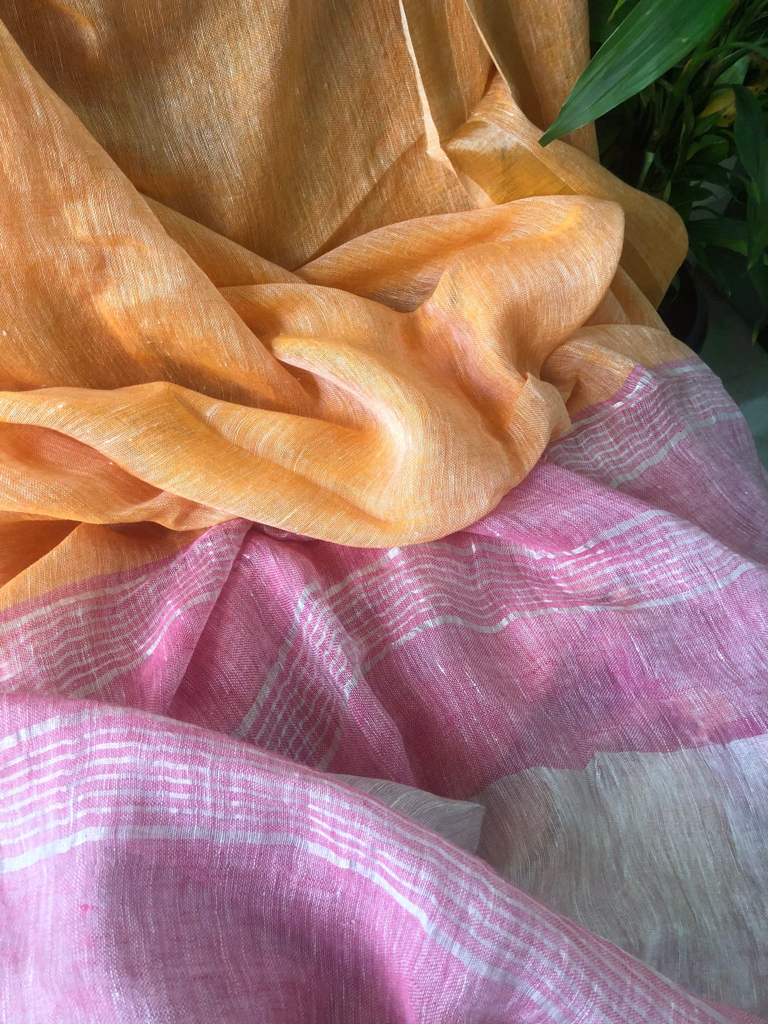 Handwoven linen Mango Pink Color Saree