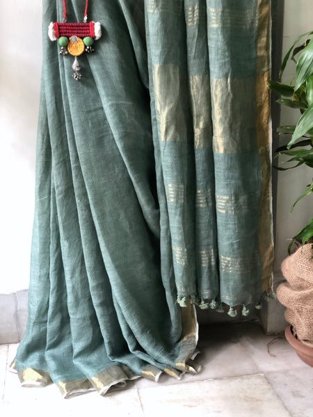 Handwoven linen smoky green color saree
