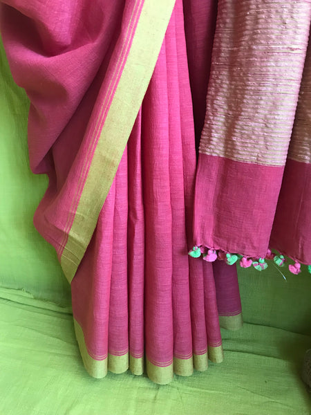 Handloom cotton saree - Carrot color
