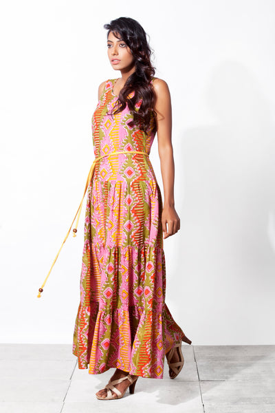 Regular fit and flared long dress