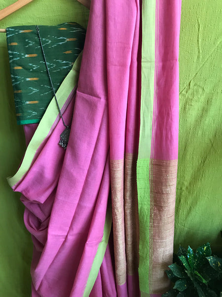 Handloom Cotton saree - Pink