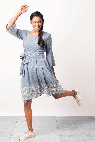 Embroidered fit and flare dress - Sizes Left : S-3  and M - 2