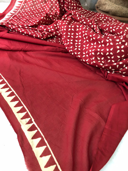 Handblock Print Cotton Mul Saree - Deep Red