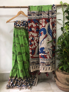 Kalamkari Cotton Mul Saree - Green- ONLY ONE LEFT