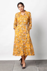 Chidiyaa - Yellow botanical print dress