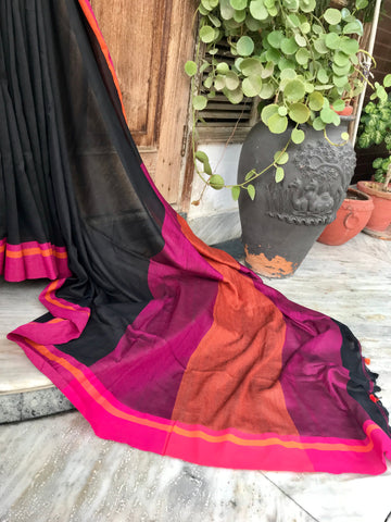 Bengal handloom khadi cotton saree- Black
