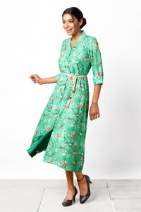 Chidiyaa - Green Botanical Print Dress