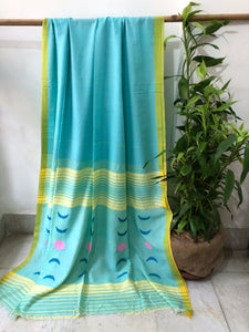 Blue Jamdani cotton saree