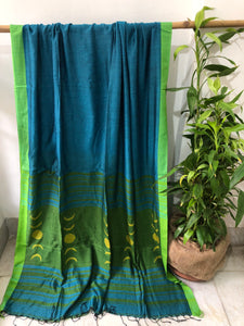 Turquoise Color Jamdani Cotton Saree