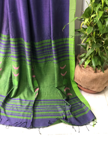 Deep Purple Jamdani Cotton Saree