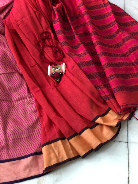 Weaving Cotton Saree - Carnation