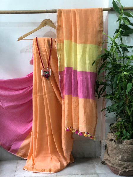 Handwoven Cotton linen Saree -  Clementine