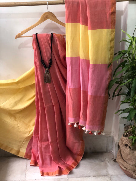 Handwoven Cotton linen Saree - Plum Rose