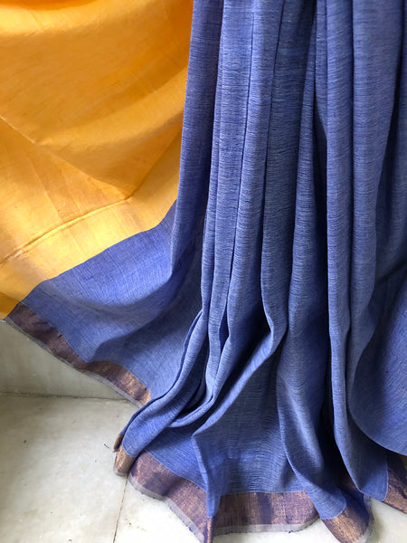 Handwoven Cotton linen Saree - Blueberry