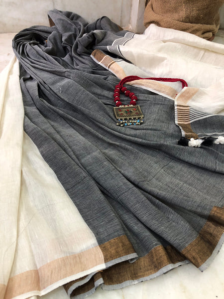 Handwoven Cotton linen Saree - Blackberry