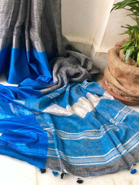 Handwoven linen saree -Forget Me Knots