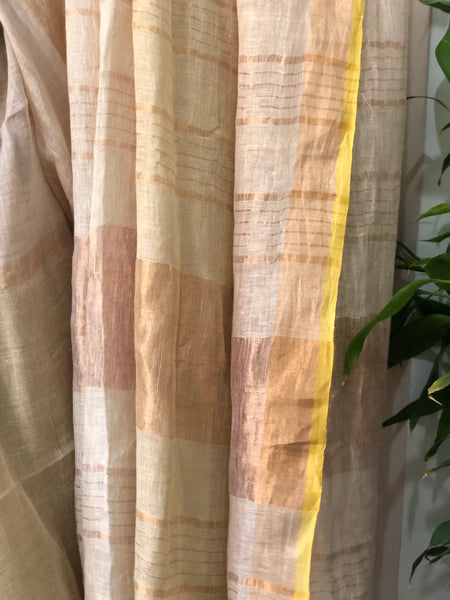 Handwoven linen stripes saree - Sunset Mix