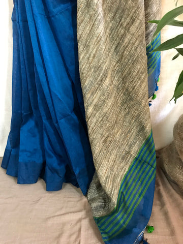 Handloom khadi cotton saree - Teal Blue