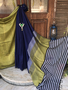 Handloom Cotton saree - Navy Blue