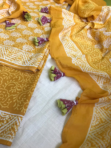 Cotton suit dupatta set - yellow