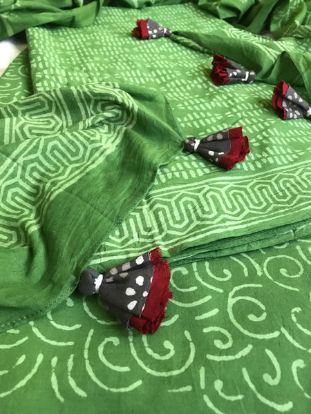 Cotton suit dupatta set - green