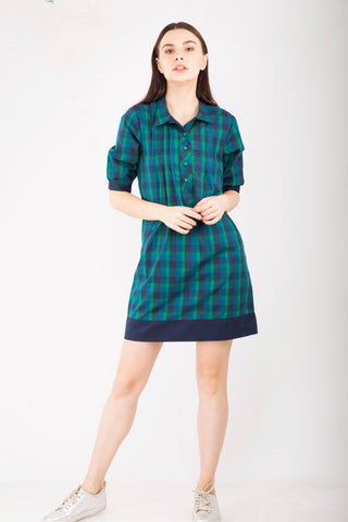 Green Checks Shift Dress : Sizes Left - S - 1, M- 2