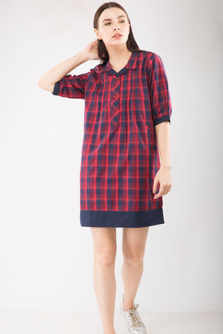 Red Checks Shift Dress