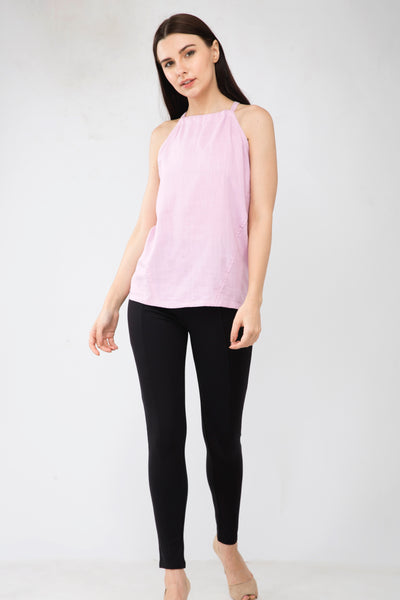 Pink Linen Halter Neck Top