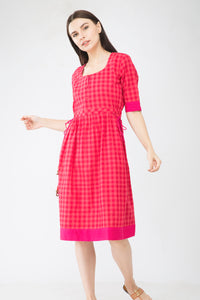 Red Checks Handloom Dress - Sizes Left - S-1 , M-1