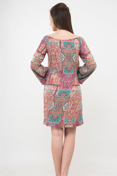Peach print shift dress- At 50% discount