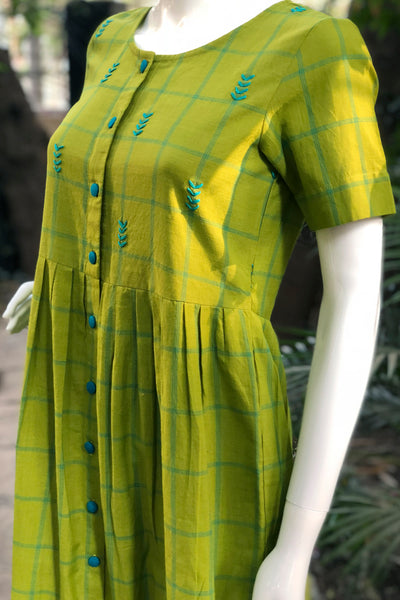 Olive green handloom checks tunic
