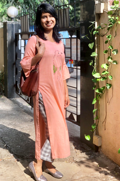 Peach Khaadi kurta with pants
