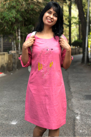 Chidiyaa pink shift dress