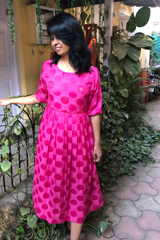 Fuchsia pink long dress