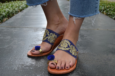 Varanasi- Gold and Blue Sandals