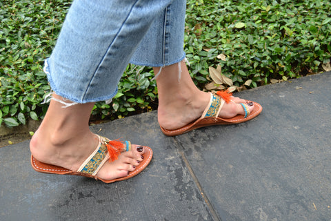 Goa- Turquoise and Orange Sandals