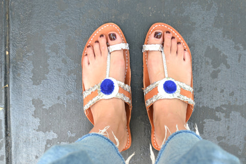 Multan- Silver and Blue Sandals