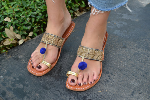 Rio Gold and Blue Sandals