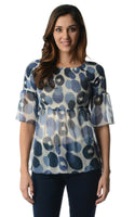 Women's Spot Printed Chiffon Smocked Top
