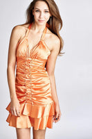 Women's Satin Halter Ruffle Detail Party Dress