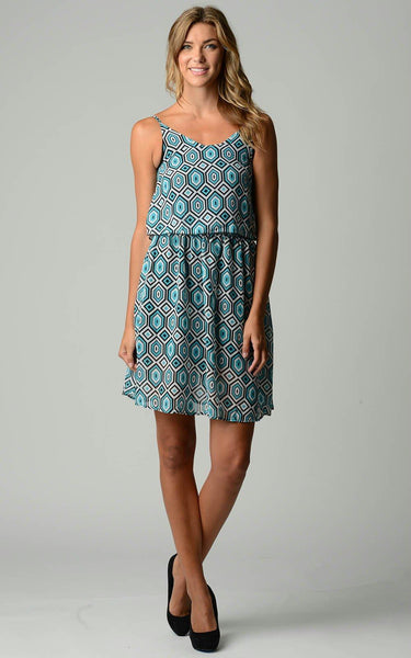 Women's Printed Chiffon Blouson Dress
