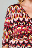 Women's Plus Size 3/4 Sleeve Printed Wrap Dress