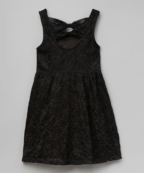 Girls Black Laced A-Line Kids Dress