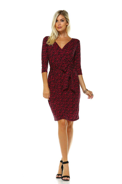 Women's 3/4 Three Quarter Sleeve V-Neck Wrap Dress with Front Tie